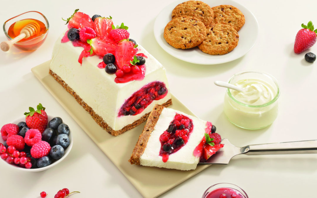 Yogurt tile with berries